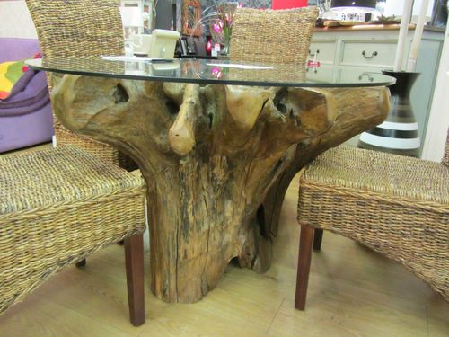 Teak Root Wood Saturday Kitchen Style Dining Table And Glass Top Fair Trade