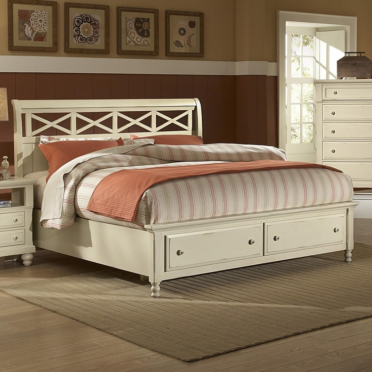 Carolina Cottage Queen Sleigh Storage Bed With 2 Footboard Drawers By  Vaughan Bassett   L Fish