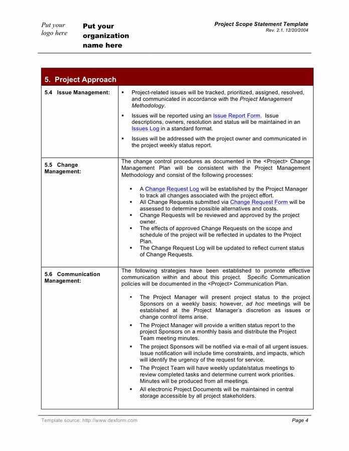 Project Scope Statement Template Inspirational Project Scope