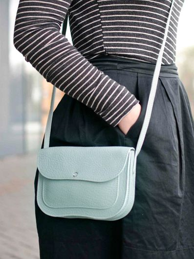 Keecie Cat Chase bag, dusty green leather bags