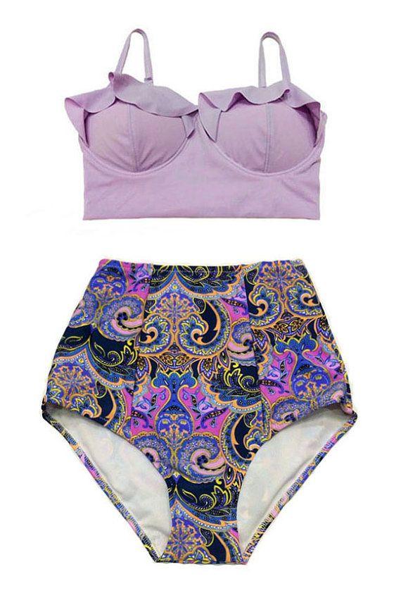 Lavender midkini top and Violet Purple Paisley high waist waist rise cut Bottom Bikini set Pin up Swimsuit Swimwear Bathing suit dress S M L