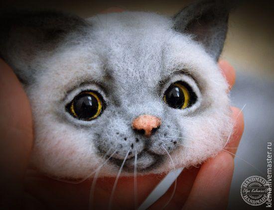 Купить Кото-брошь - серый, брошь ручной работы, брошь из войлока, котоброшь, кошка, эксклюзив