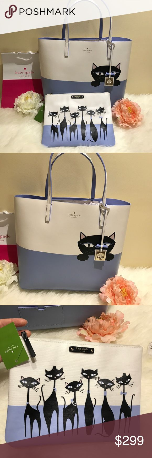 Kate Spade ♠️ cat  large tote, pouch bundle nwt Beautiful large tote with gold plated hardware and matching zippered pouch which can be used as a make up case, stunning duo that will make any witch thrilled for Halloween! Boo! ❤️❤️ kate spade Bags Totes