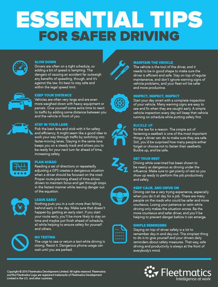 Safe Driving Infographic Car care tips, Car hacks, Safe