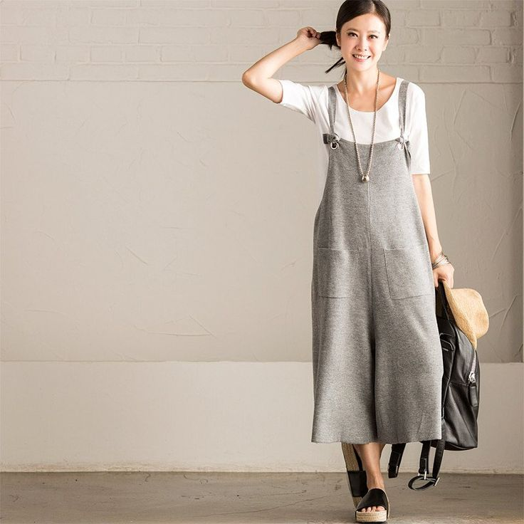 Korean Style Big Pocket Casual Overalls Kniting Trousers Women Clothes K5129A
