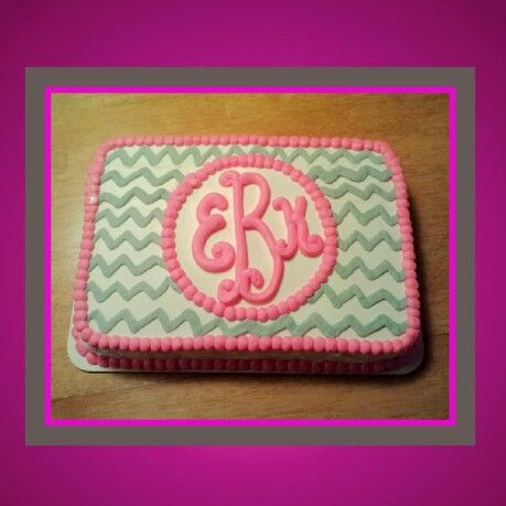 Grey Chevron with Pink Monogram Cake