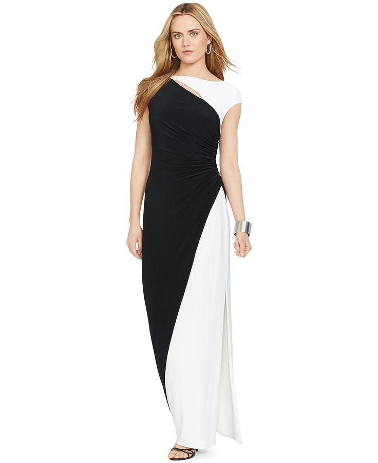 Lauren ralph lauren colorblocked cap sleeve gown mother for Macy wedding dresses mother of the bride