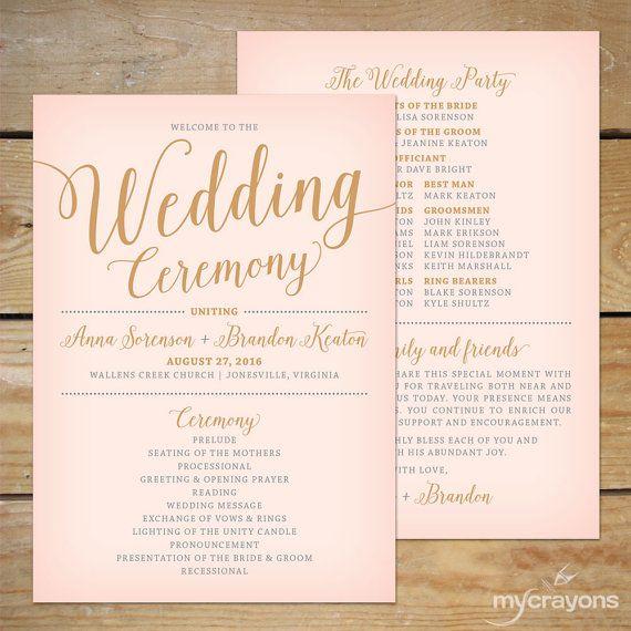 Blush Pink and Gold Wedding Program Fan by MyCrayonsDesign // Pink Wedding Program