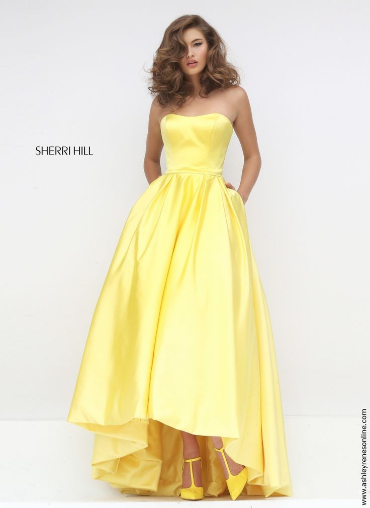 Sherri Hill yellow audrey length dress at Ashley Rene's Elkhart, IN 574-522-7766 We ship nationwide.