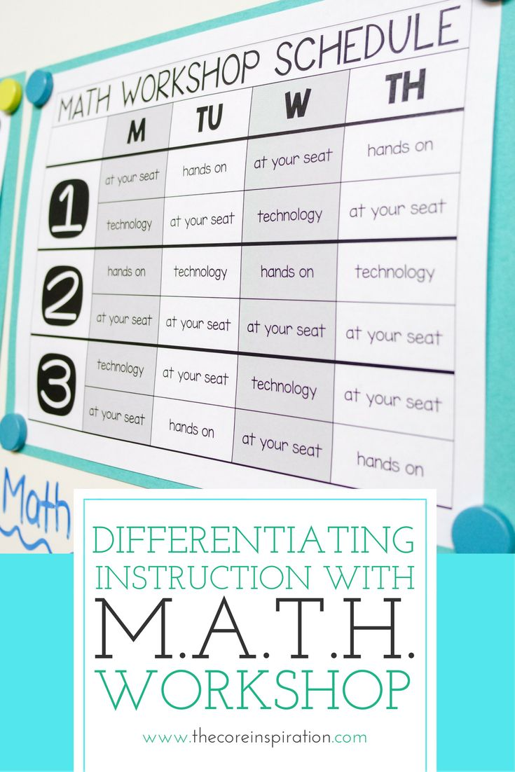 M.A.T.H.  Workshop is a framework that allows students to learn new math content each day, practice math strategies in a variety of ways, and reflect on learning through verbal or written sharing. This teacher shows you each step of  the predictable structure of math workshop in her classroom. Love the transition management tools she uses to help students stay independent as they work on differentiated math activities. Good option for self directed learning and personalized learning.