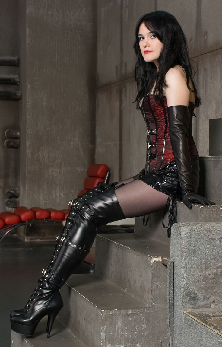 fetish lady wearing thigh boots