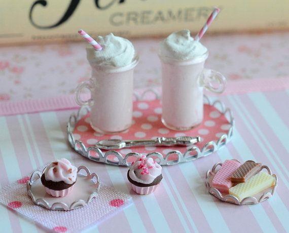 Miniature Strawberry Milk Shakes by CuteinMiniature on Etsy
