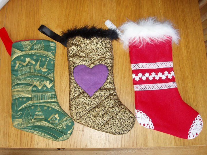 Christmas stockings made for my sister and her teenage son (green) and daughter (black/purple)
