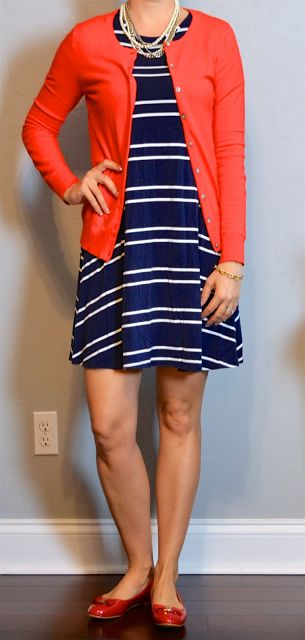 outfit post: striped navy swing dress, red cardigan, red ballet bow flats | Outf…