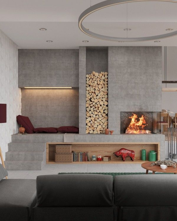 3 stylish modern homes with dark red accents