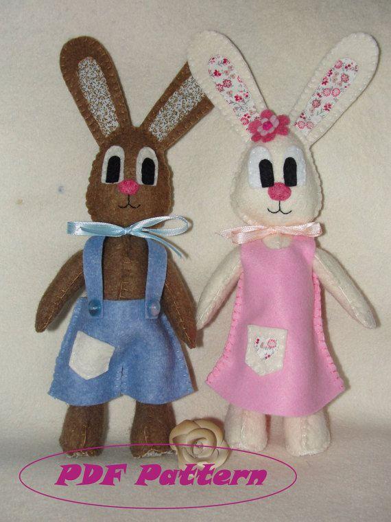 Felt Bunny Pattern Rabbit Pattern Sewing Pattern by NitaFeltThings