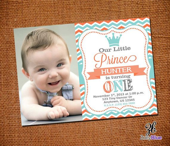 Best First Birthday Invites Images On Pinterest Aqua Cards - Digital first birthday invitation