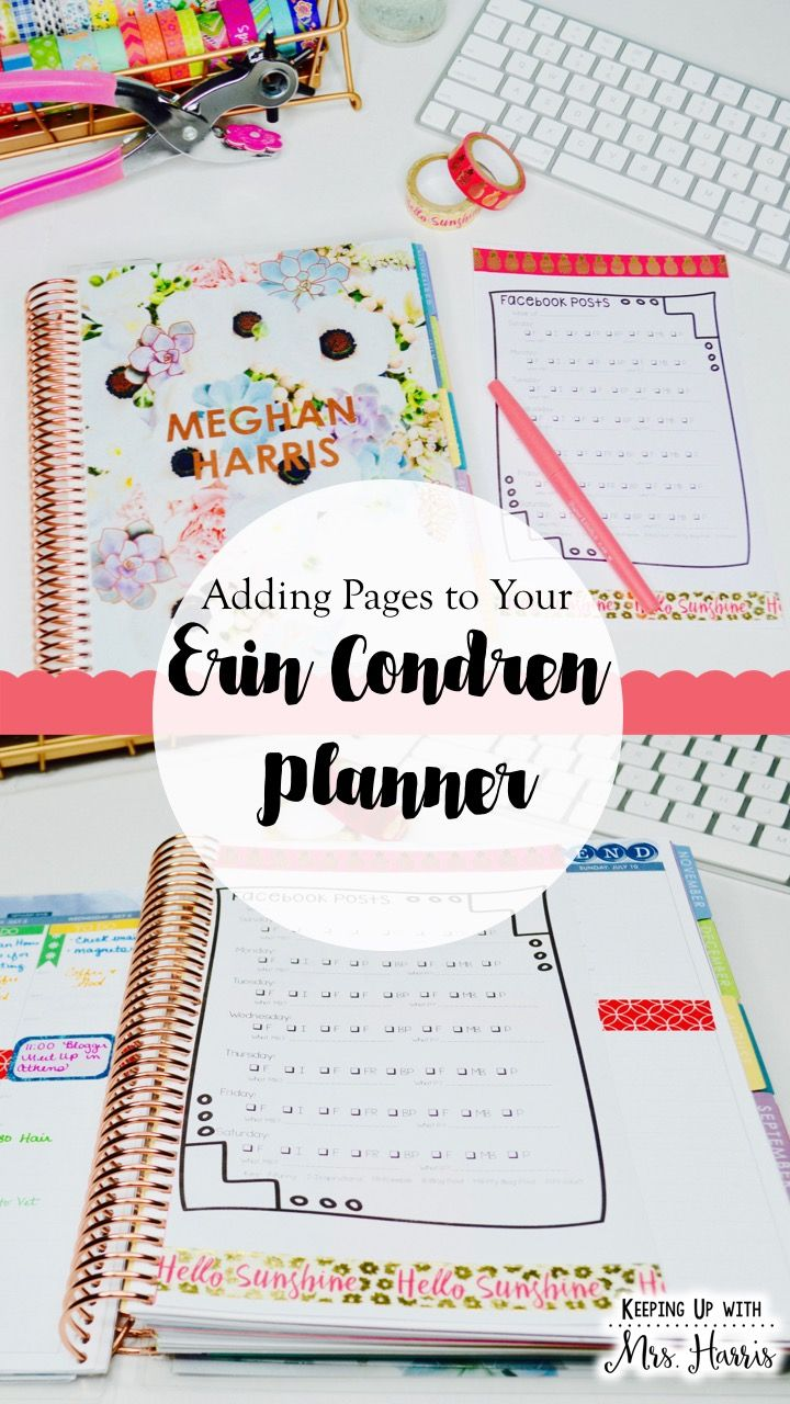 Adding pages to your Erin Condren Planner - How to for a DIY how to add pages to…