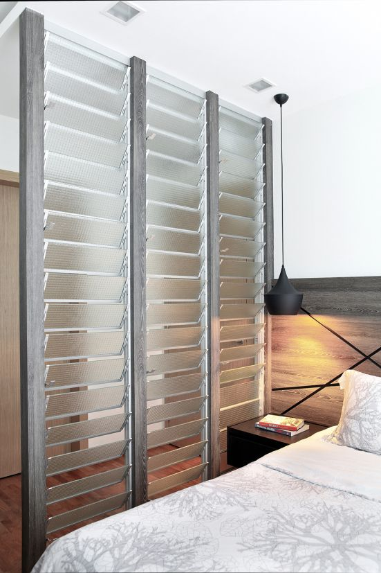 glass louvers as room dividers but still allow light to come through - Louvered Bedroom Decor