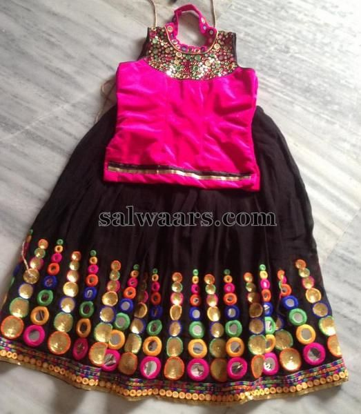 Glass Work Black Net Lehenga - Indian Dresses