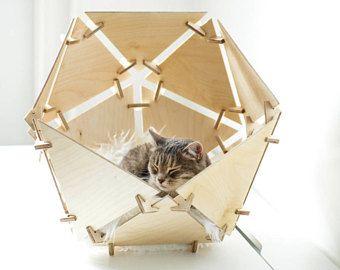 Holzhaus, Katzenhöhle, Bett-Haus, umweltfreundlich, Geschenk, Holz, Katzenbetten, Kätzchen Spielzeug, Filz Höhle, Katze Tipi, Luxus Katzenbetten, Tierbett