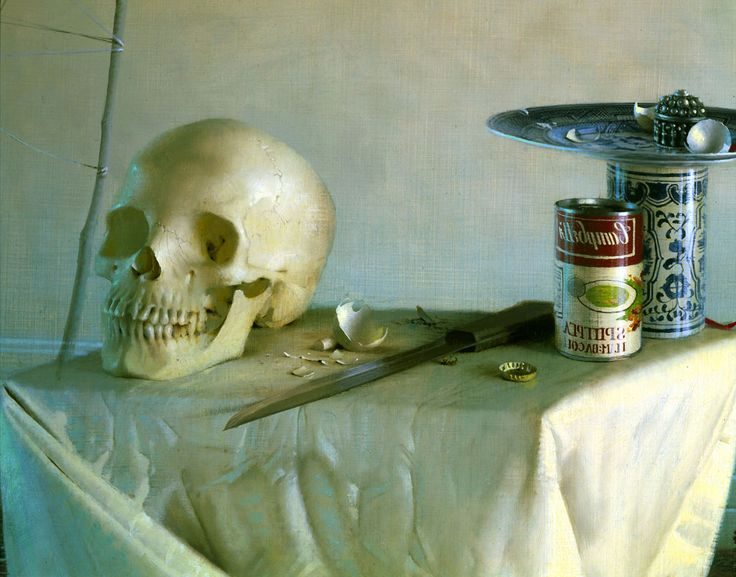Contemporary American painter Daniel Sprick is most known for his extreme realkistic Portraits, and his somewhat surrealistic still lifes.