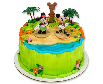 How-to Make a Mickey & Minnie Mouse Luau Party Cake.