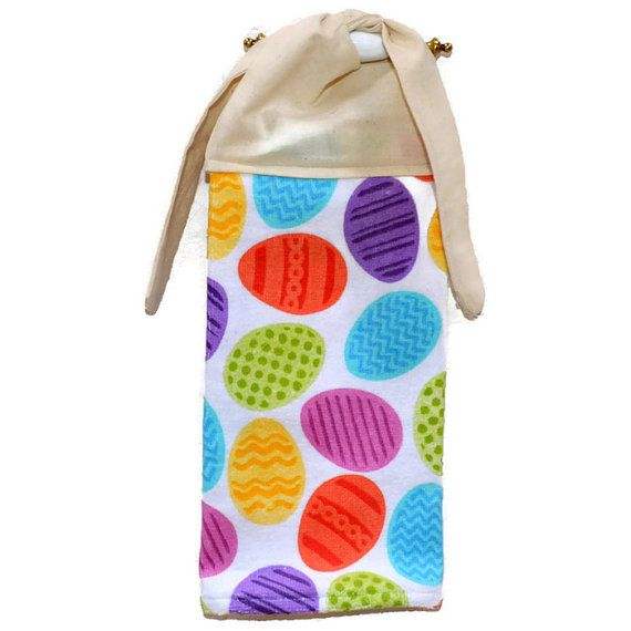 Easter Egg Towel Kitchen Hand Towel Tie On Towel By SuesAkornShop
