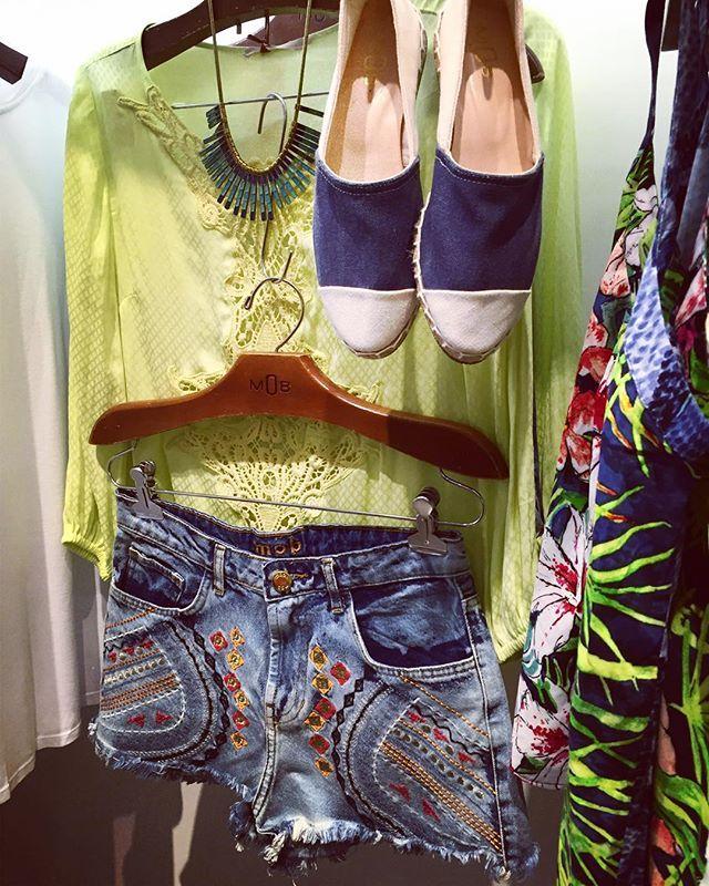 MOB SUMMER   Shorts com bordado e blusa verde limão WE LOVE  #mobverao16