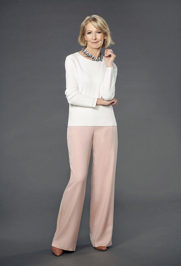 Top, £98, jigsaw-online.com; Wide-leg trousers, £99, jaeger.co.uk; Necklace, £15, debenham...