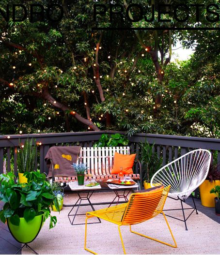 backyard. : Small House Design, Hanging Lights, Gardens Seats, Outdoor Seats, Twinkle Lights, Outdoor Furniture,  Terraces, Patio, Outdoor Spaces