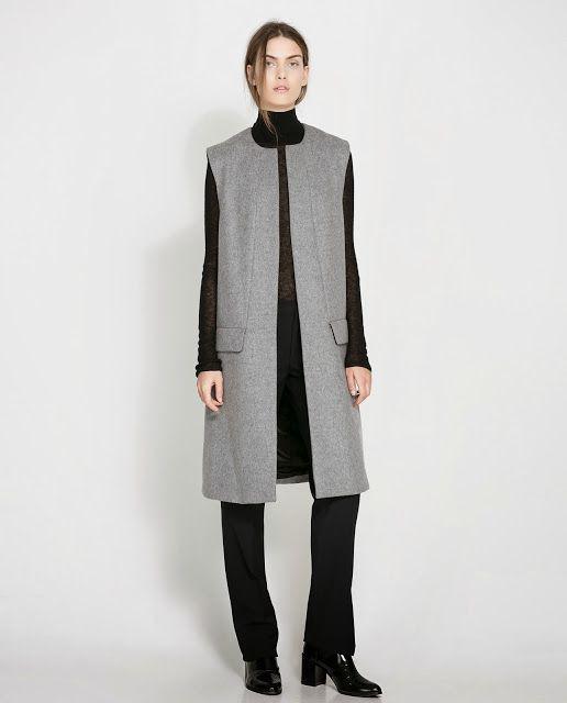 Grey - Sleeveless Coat by Zara