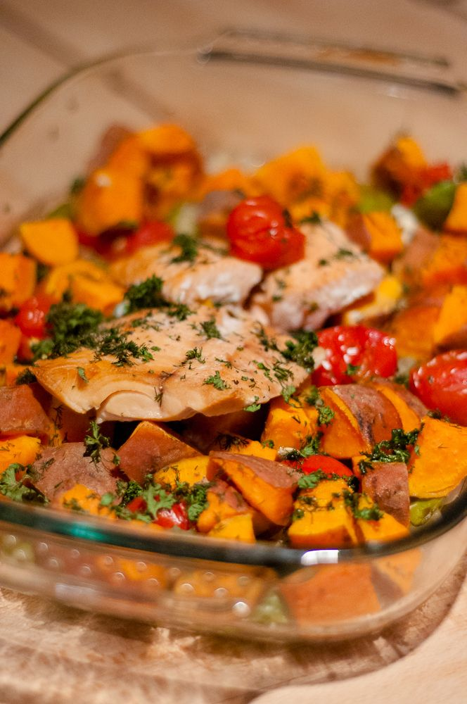 Zoete aardappel met zalm uit de oven ♥ Foodness - good food, top products, great health