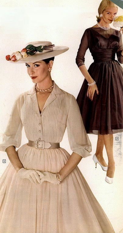 1959 Nancy Berg in elegant chiffon shirtwaist, model in back is wearing chocolate brown chiffon dress over taffeta lining