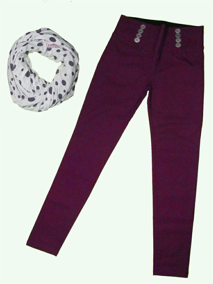 Pantalón morado con botones talla S bufanda circular en algodón!