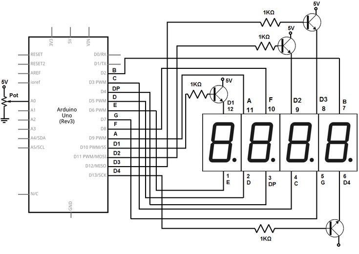 image result for 4 digit 7 segment display pin ... led display pin diagram circuit diagram running led display #9