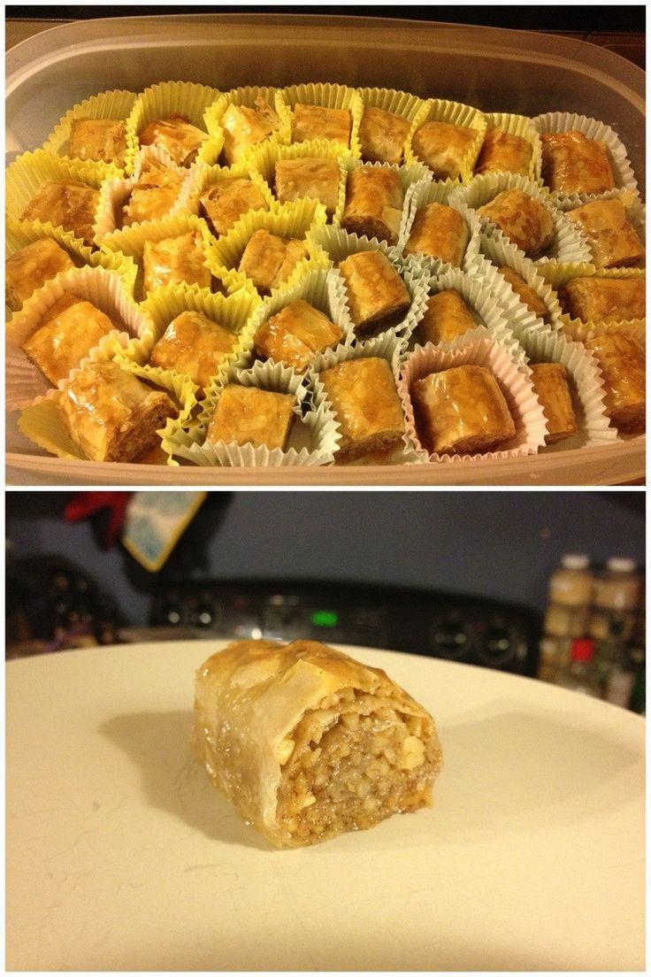 Baklava Rolls: Take one sheet phylo dough, butter liberally, lay ...
