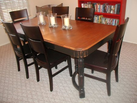 Dining room set refinish idea home style pinterest for Refinished dining room table