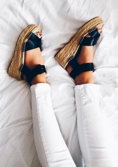 Espadrille sandals. These are perfect for the summer. You can paired them with jeans just like in the photo or with anything else: shorts, skirts, dresses. The possibilities are endless just let your imagination go wild. Creating outfits is all about mix and match. These sandals are a great investment to be in style and feel like queen during summer