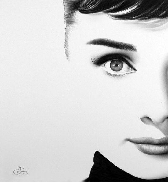 Audrey Hepburn Fine Art Portrait dessin au crayon signé imprimer
