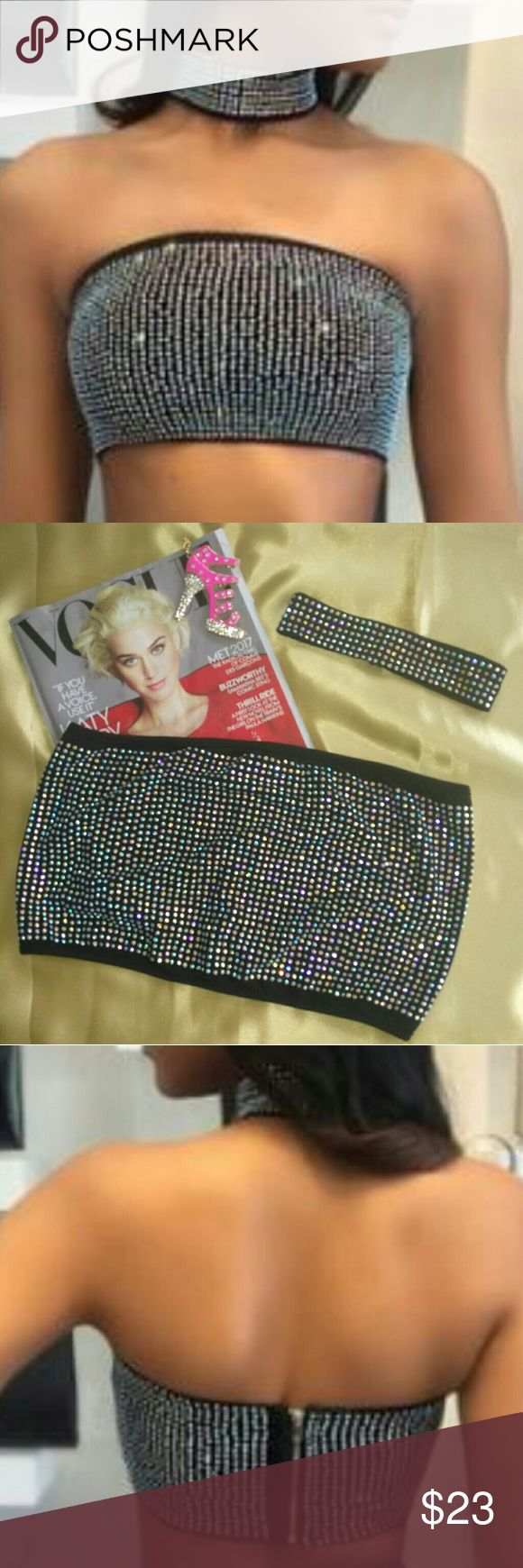 Rhinestone Embellished Bandeau Top & Choker Sparkly, eye catching crop top with matching choker!  Black, Rhinestone Embellished. Zip Back. Size Small. Choker-double button closure. Tops Crop Tops