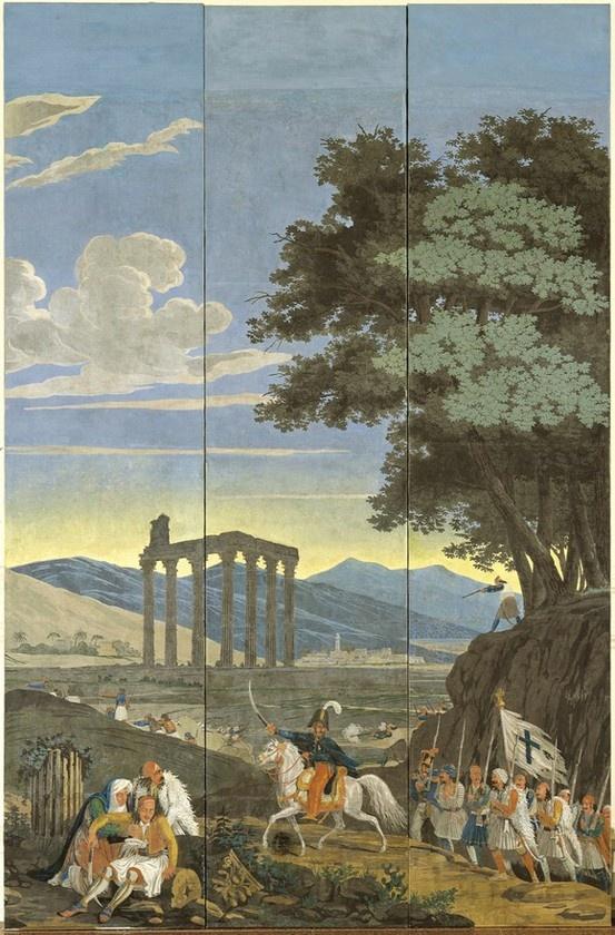 """μήμα από το """"Πανόραμα του Aγώνα"""", χαρτί επένδυσης τοίχου μνημειακών διαστάσεων, γαλλικής κατασκευής του 1828. Βασισμένη σε προσχέδια των Horace Vernet (1758-1836), Ary Scheffer (1795-1858) και άλλων ζωγράφων. Μουσείο Μπενάκη.  Section of """"Panorama of the War of Independence"""", a wallpaper design of monumental dimensions, French manufacture, 1828. Its composition is based on designs by Horace Vernet (1758-1836), Ary Scheffer (1795-1858), and other painters. Benaki Museum"""