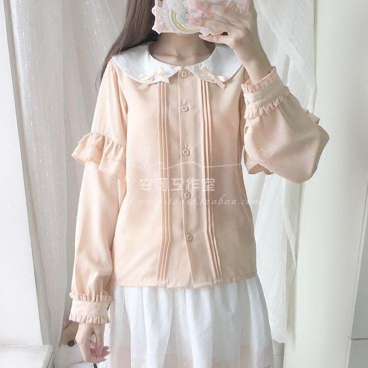 Japanese Sweet Mori Girl Kawaii Lolita Doll Collar Palace Bow Chiffon Shirt#Hg47