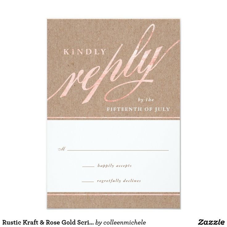 wedding invitation wording vegetarian option%0A Shop Rustic Kraft  u     Rose Gold Script Reply Cards created by colleenmichele