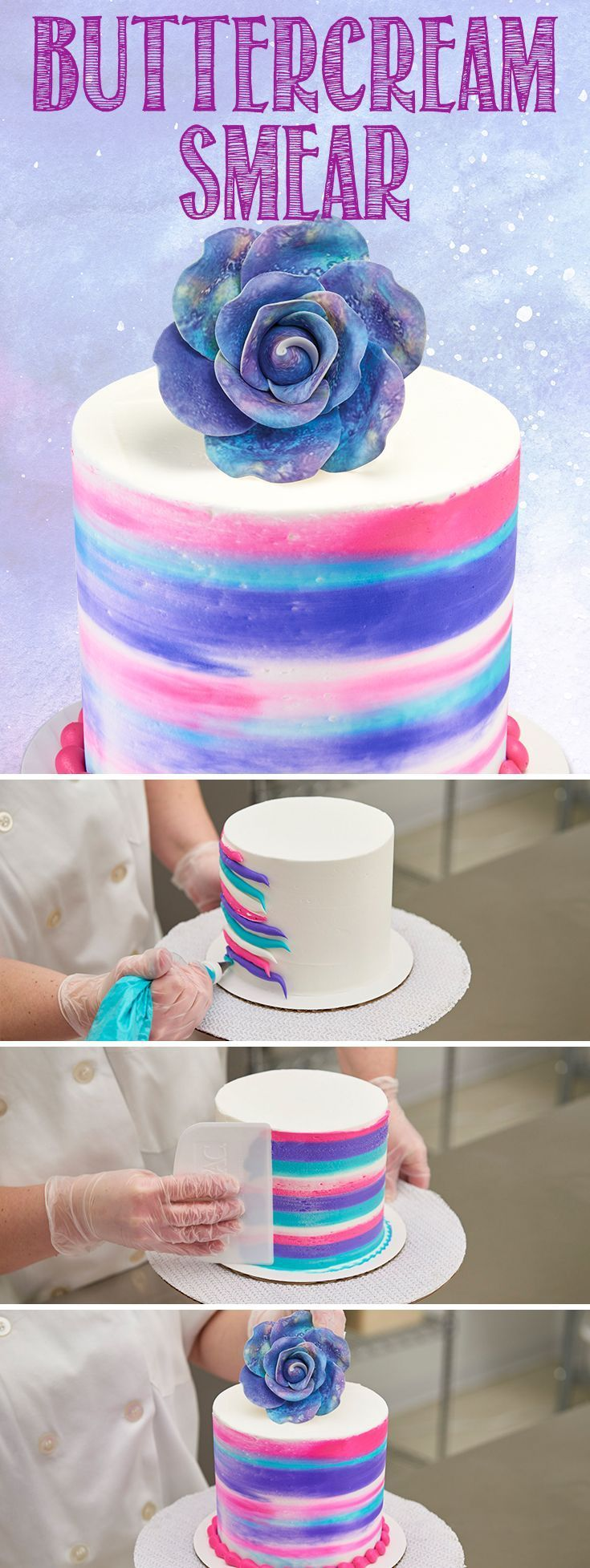 Pipe large bands of colored buttercream icing. THen use an icing scraper to pull and blend the different colors around the cake. This multi-colored smear creates a beautiful, natural look that's unique every time. #cakedecoratingtechniques