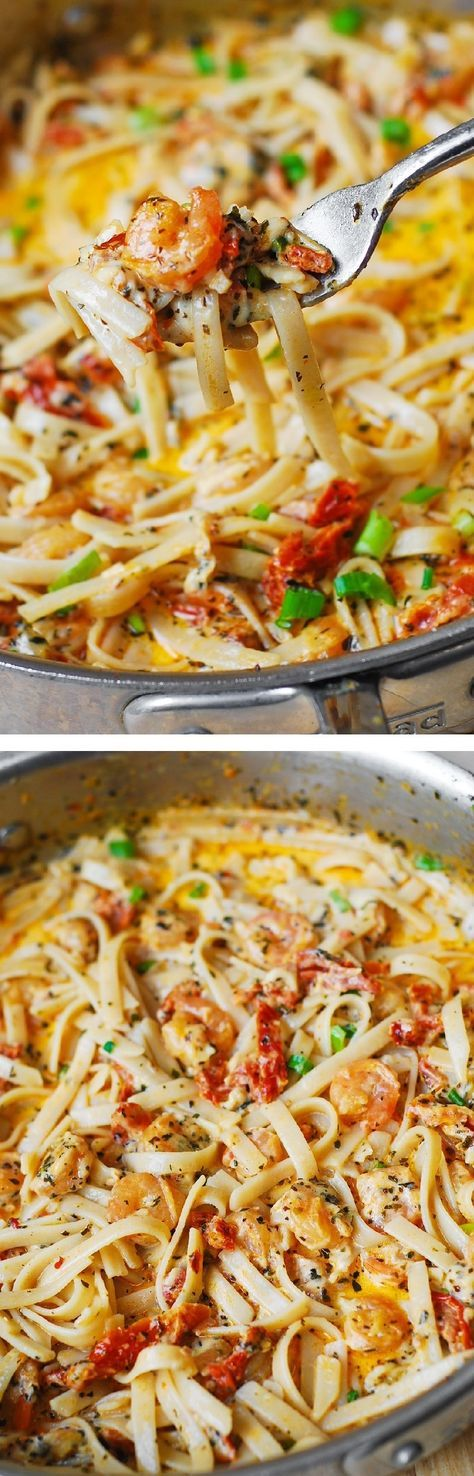 Garlic Shrimp and Sun-Dried Tomatoes with Pasta in Spicy Creamy Sauce, spiced up with basil and crushed red pepper. Italian comfort food that's super easy to make! Use gluten free brown rice fettuccine.