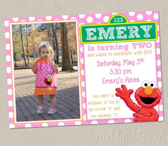 Elmo Inspired Invitation Birthday Party Red Pink Orange Sesame Street Printable DIY Girly In 2019