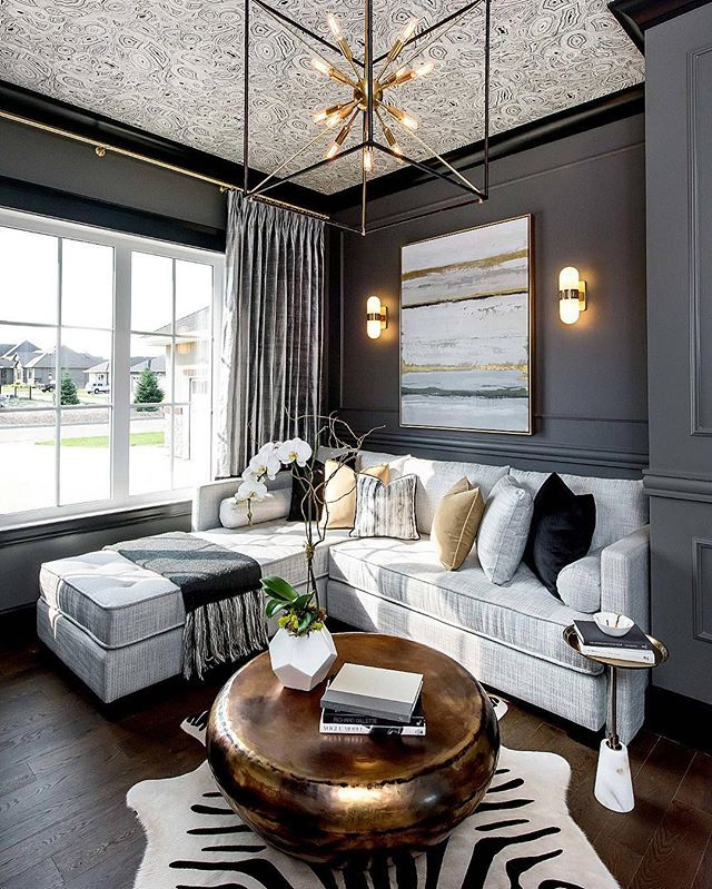Dark Walls And Gold Fixtures By Metrie