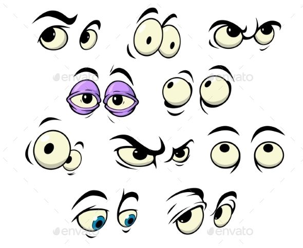 Cartoon Eyes with Different Expressions - Characters Vectors