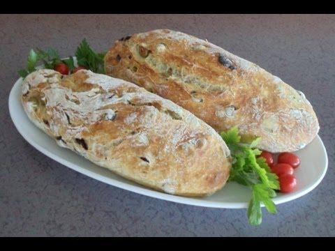 ▶ No-Knead Mediterranean Olive Bread (Easy... No Mixer... No Yeast Proofing) - YouTube.  Need to try this one again, must have missed something first time around, bread was flat and dense, but great tasting!!!